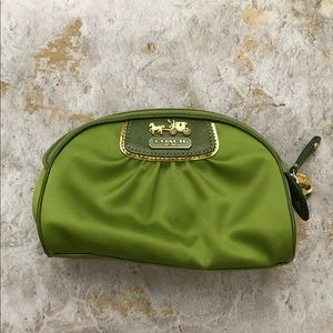 NWOT Coach satin and leather makeup case
